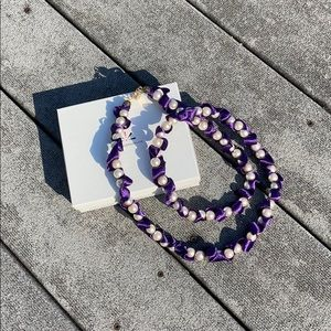 """Long """"Pearl"""" and Purple Ribbon Necklace"""